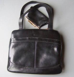 Vintage Black Vinyl Lou Taylor Handbag with Swivel Mirror and Coin