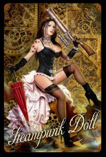 Steampunk Doll Lorenzo Sperlonga Vintage Tin Metal Sign Pinup Girl