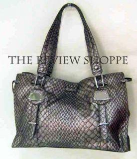 Jessica Simpson Anaconda Snake Bag It Tote Bag Metallic Pewter