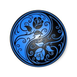 Yin Yang Roses, blue and black Sticker