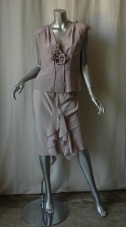 Yves Saint Laurent Silk Skirt Blouse Outfit Set 38 40