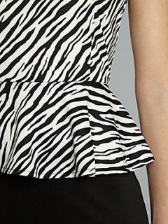 Glamorous Zebra colour block peplum dress Zebra Print & Black