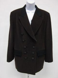 Louis Feraud Brown Cashmere Wool Jacket Coat Sz 12