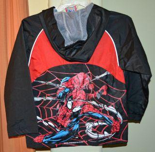 Spiderman Light Weight Hooded Windbreaker Jacket Youth Boys 7
