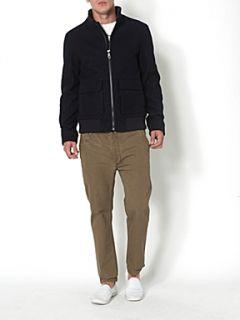 Label Lab Shearling collar wool short jacket Navy