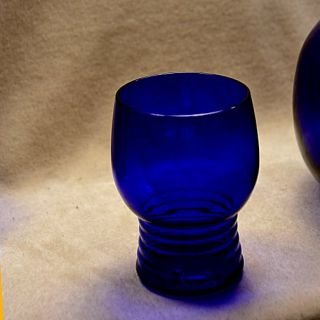 1930s Louie Cobalt Blue Glass Iced Tea Pitcher 6 Tumblers