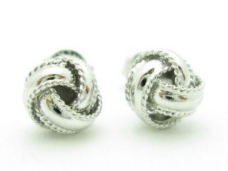 Platinum Sterling Silver Unique Love Knot Design Post Stud Earrings
