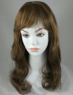 Long Dark Light Brown Straight Human Hair Wig w Bangs