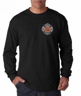 Fire Rescue Firefighter Emblem Long Sleeve Tee Shirt