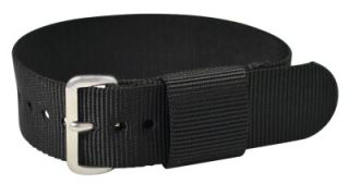 Buckle 22mm Solid Black NATO Military Watch Band Strap Fits All