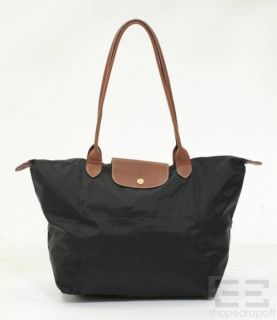 Longchamp Black Nylon Brown Leather Les Pliages Shopping Tote Bag