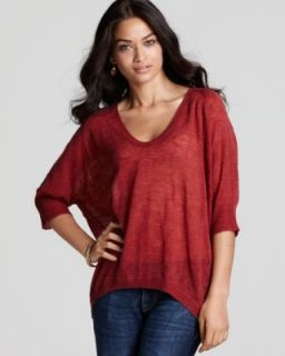 Red Rounded V Neck Oval High Low Pullover Sweater Top M BHFO