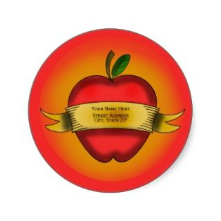 Vintage Apple Tattoo Address Label Round Sticker