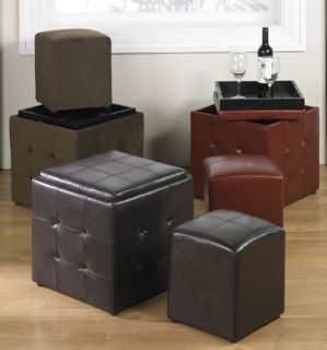17 5 Square Button Tufted Storage Ottoman Plus Side Cube Set w Tray