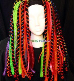 Cyberlox Cyber Falls Chakra Rainbow Hair Neon Rave UV Glow Blacklight