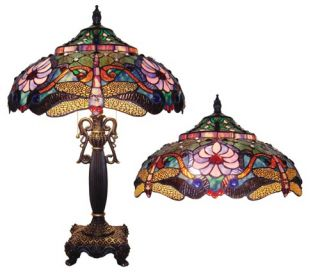 Pink Lotus Flower Tiffany Style Table Lamp Glass