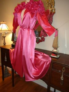 Vintage Lucie Ann Robe Nightgown Satin RARE Couture Pink Gown Lingerie