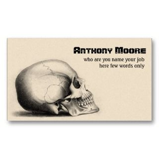 scull human head bones business card