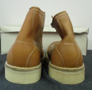 60s NEW OLD MOC TOE CREPE HUNTING WORK LEATHER MENS BOOTS 10 W XW NOS