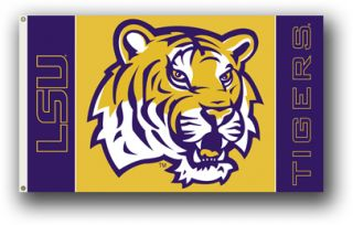 LSU Tigers Flag Premium Two Sided 3 x 5 Louisiana Banner Pennant