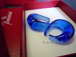 Modern Stylish BACCARAT Crystal Loop Earrings, Sapphire Blue Color