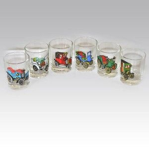 Retro French VMC Reims Shot Glasses Classic Cars Design BXD Set of 6