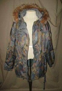 Luhta Sport Blue Multi Color Ski Coat w Fox Fur Around Hood Sz 12 US