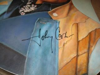 Johnny Cash Signed Oil Portrait on Guitar by Roy Bills 2002 Michigan
