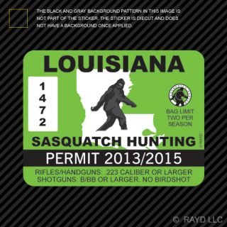 Louisiana Sasquatch Hunting Permit Sticker Die Cut Decal Bigfoot