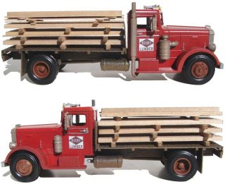 FINEtrains Scratch Bashed BUILT 1949 Peterbilt Lumber Truck On30 1/43