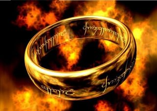 Fashion Nice LOTR Mens 18K Gold Plated Band Wedding Ring Width 4mm