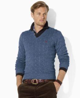 Polo Ralph Lauren Vest, Cable Knit Merino Wool Sweater Vest   Mens