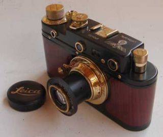 Leica III Eagle Copy Black Gold Wood in Leather Case ZORKI Copy
