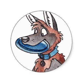 German Shepherd Dog Playing Fetch Sticker