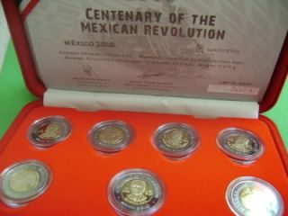 2009 Mexico 7 Coin Revolution 5 Pesos Bimetallic Proof with Case COA