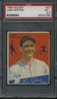 R320 1934 Goudey Baseball #27 Luke Appling, Chicago White Sox, HOF PSA