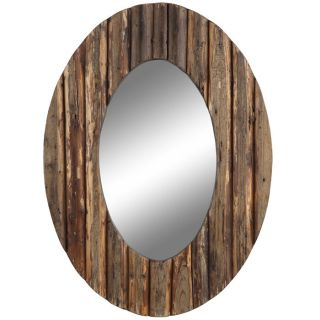 Loveland Circular Wood Framed Wall Mirror from Brookstone