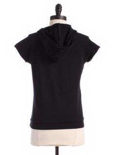 Lux Black Short Sleeved Surplice Hoody Sz M Top Athletic Wear Shirt