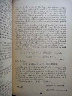 1905 Antique Knights of Golden Eagle Rules Order Mason