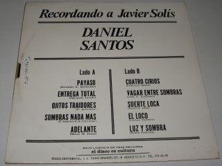 Daniel Santos Recordando A Javier Solis LP