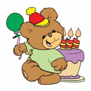 happy birthday teddy bear with cake and balloon photo cut out