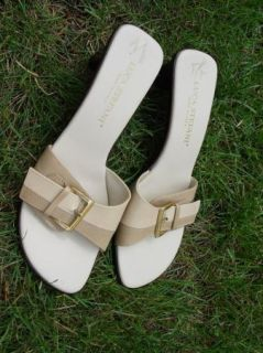 Luca Stefani Heels Slip on Shoes Sandal Tan Buckle Open Womens Italy