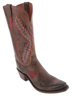 Lucchese Tan SMU NCAA Womens Cowboy Boots Made in USA