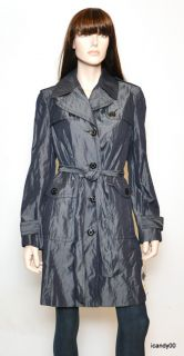 ANNE KLEIN NY Iridescent Trench Rain Coat Jacket Top ~Pearl/Indigo *M