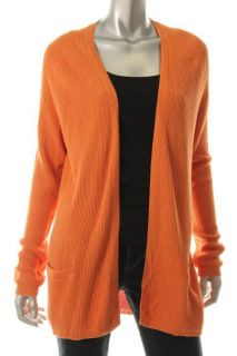 Anne Klein New Orange Long Sleeves Ribbed Trim Fly Away Cardigan