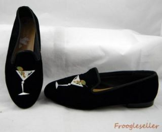 Marinelli Womens Loafers Black Velvety Shoes 8 5 M Martini Glass on