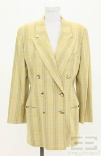 Luciano Barbera Green Plaid Wool Double Breasted Blazer Size 46