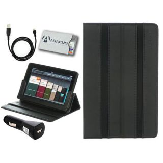 for Kindle Fire M Edge Black Leather Folio Case Cover Stand/USB Cable