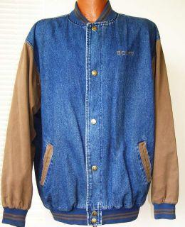 Sony Luna Pier Mens Denim Blue Lined Coat Varsity Jacket Size L