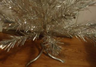 Vintage 44 Aluminum Christmas Tree w Ornaments for Parts or Repair